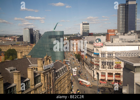Manchester England UK Looking down on the Printworks historic building from capsule of the MEN Wheel in Exchange - Stock Photo