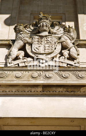 Royal Coat of Arms above the door of Parliament Buildings, Stormont, Belfast, home of the Northern Ireland Assembly - Stock Photo