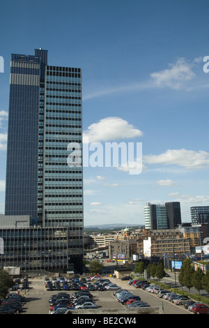 Manchester England UK View across the city skyline towards the Pennines with the high rise building of Co-operative - Stock Photo