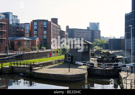 Lock gates on the River Aire outside the The Royal Armouries Museum, Clarence Dock, Leeds, West Yorkshire, England - Stock Photo