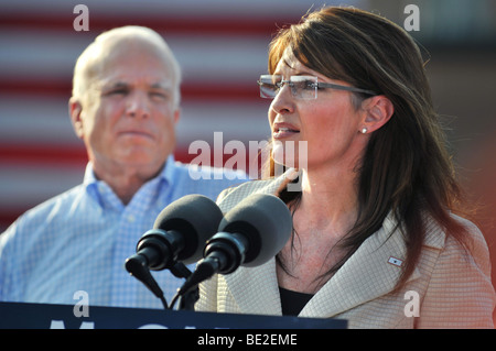O'FALLON - AUGUST 31: Governor of Alaska and presidential Vice Presidential candidate Saran Palin at a rally in - Stock Photo