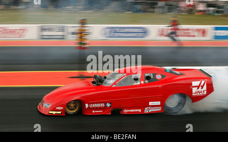 Top Methanol Funny Car Dragster driven by Ulf Leanders. Santa Pod raceway, England, UK. - Stock Photo