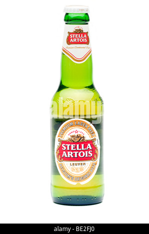One bottle of Stella Artois Lager Beer - Stock Photo