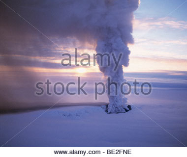 Iceland - Smoke emerging from a volcano - Stock Photo