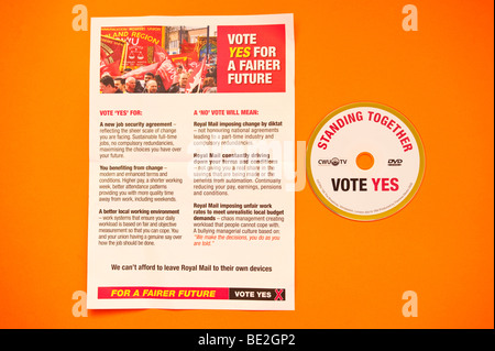 The official cwu leaflet & dvd sent to Royal Mail employees before the September 2009 national ballot asking for - Stock Photo