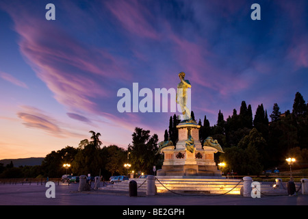 Michelangelo's 'David' at dawn in Florence Italy - Stock Photo