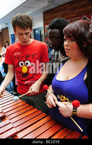 Music students perform at sixth form further education college - Stock Photo