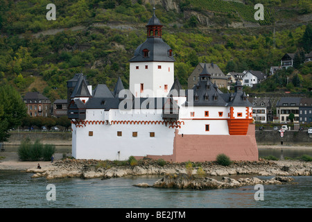 Burg Pfalzgrafenstein, a toll castle on an island in the Rhine river, Lorelei on the Rhine, Kaub, Rhineland-Palatinate, - Stock Photo