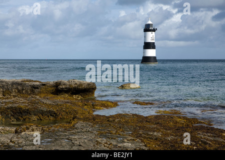 Trwyn Du Lighthouse on Anglesey, Wales, UK - Stock Photo