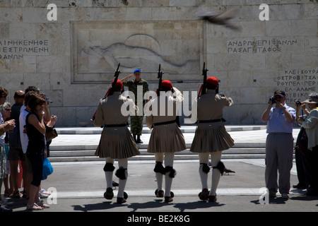 Evzones Vouli Parliament Building Syntagma Square Athens Greece - Stock Photo