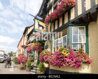 The Greyhound Pub in the pretty village of Lavenham Suffolk UK - Stock Photo