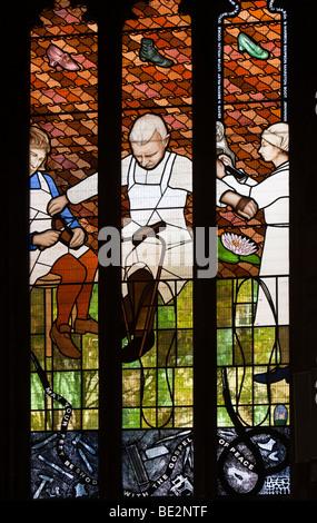 UK, England, Staffordshire, Stafford, Saint Marys Collegiate Church interior, Shoe making window by David Gleeson - Stock Photo