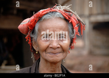 Portrait, ethnology, old woman of the Lao Bit ethnic group, Laobit, village Ban Thaodouang, near the Nam Lan Conservation - Stock Photo