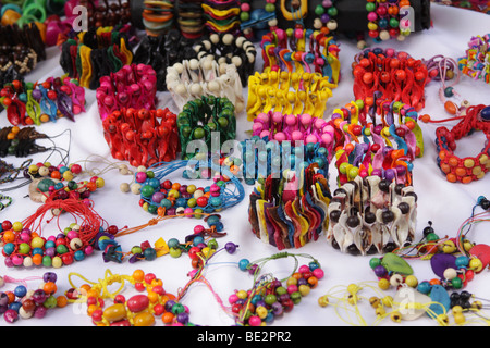 Bracelets and other jewelry on display at a street market in Panama City. - Stock Photo