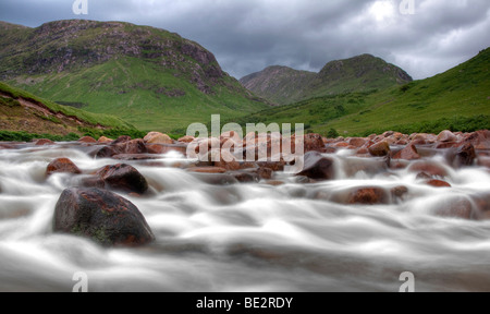 Glen Etive in Glencoe in the Scottish Highlands, Scotland, United Kingdom, Europe - Stock Photo