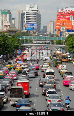 Dense traffic on the street, traffic jam in downtown, Ratchadamri Road, Chit Lom, Sukhumvit, Bangkok, Thailand, - Stock Photo