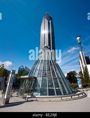 Entrance to the subway in front of the Messeturm, Fair Tower, at the Friedrich Ebert Park, Frankfurt am Main, Hesse, - Stock Photo