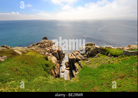 Cliffs at Porthcurno, south coast of Cornwall, England, UK, Europe - Stock Photo