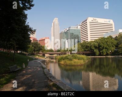 Gene Leahy Mall and downtown Omaha, Nebraska. - Stock Photo