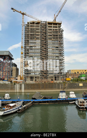 Construction site, Kranhaus building at the Rheinauhafen harbour, Cologne, North Rhine-Westphalia, Germany, Europe - Stock Photo