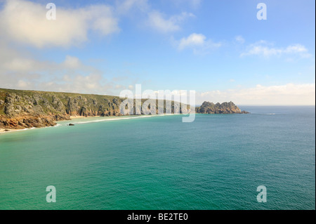View over the bay and the cliffs at Porthcurno, south coast of Cornwall, England, UK, Europe - Stock Photo