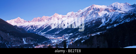 Mont-Blanc, winter view of the Mont-Blanc Massif mountain range, Chamonix Valley, Haute-Savoie, France - Stock Photo