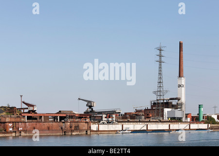 Duisburg copper smelter, now DK Recycling on the bank of the Rhine River, Duisburg-Ruhrort, Ruhr area, North Rhine - Stock Photo