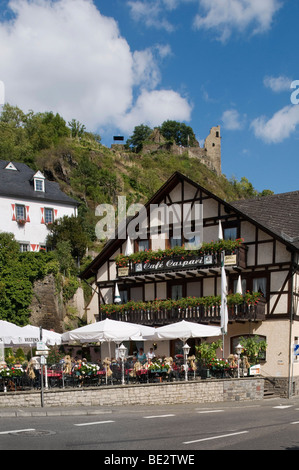 Kreuzberg, Altenahr, view from the village on the ruins of Burg Are castle, Ahrtal valley, Rhineland-Palatinate, - Stock Photo