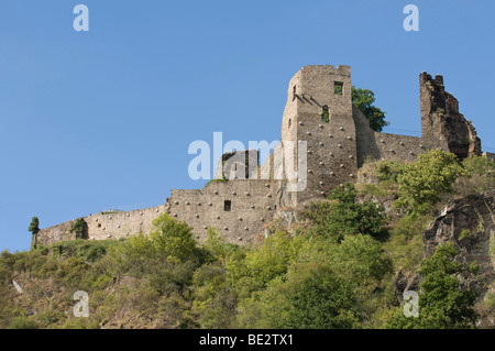 View from the Ahr on the ruins of the Burg Ahr castle, Ahrtal valley, Rhineland-Palatinate, Germany, Europe - Stock Photo