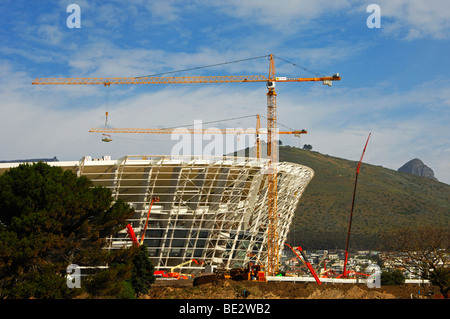 Soccer World Championship 2010, Green Point Soccer Stadium under construction in front of Signal Hill, peak of the - Stock Photo