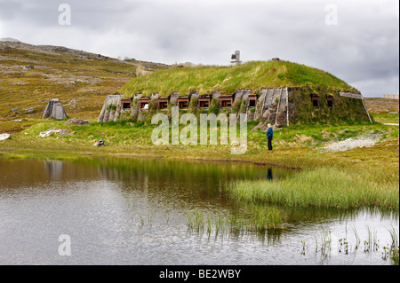 Earth covered lodge of a family of the Sami people, Hammerfest, Norway, Scandinavia, Europe - Stock Photo