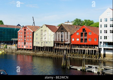 Former trading houses at the Kjopmannsgata on the river Nidelva, Trondheim, Norway, Scandinavia, Europe - Stock Photo