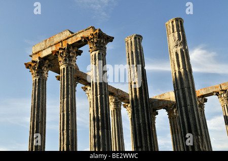 Roman Temple of Diana in Evora, UNESCO World Heritage Site, Alentejo, Portugal, Europe - Stock Photo