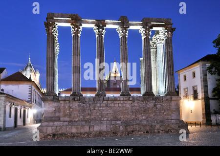 Roman Temple of Diana in Evora at night, UNESCO World Heritage Site, Alentejo, Portugal, Europe - Stock Photo