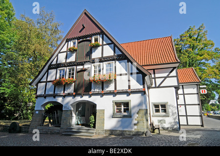 Tourist information, half-timbered house, historic town centre, Soest, North Rhine-Westphalia, Germany, Europe - Stock Photo