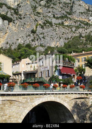 The town of Moustiers Sainte Marie on the edge of the Gorges du Verdon in the Provence region of France - Stock Photo