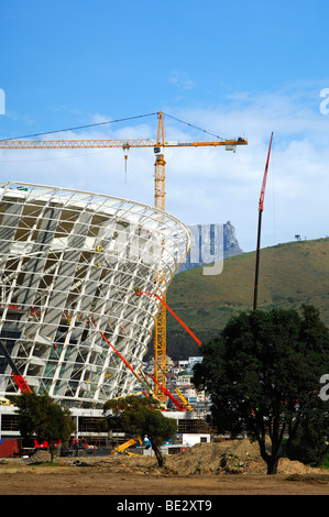 Soccer World Championship 2010, Green Point Soccer Stadium under construction, peak of the Table Mountain at back, - Stock Photo