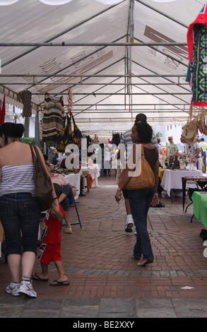 Street market at Plaza Catedral of the Casco Viejo of Panama City. - Stock Photo