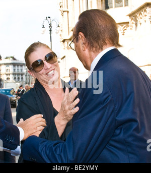 Iva Zanicchi and Pippo Baudo, funeral of Mike Bongiorno, Milan, ITALY, 12 september 2009 - Stock Photo