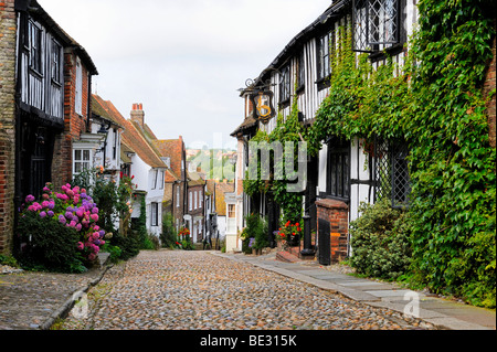 The famous Mermaid street in the old town of Rye, East Sussex, England, UK, Europe - Stock Photo