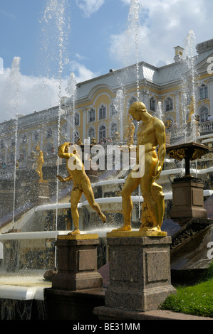 Gilded statues, Grand Cascade, Palace, Peterhof, Saint Petersburg, Russia, Europe - Stock Photo