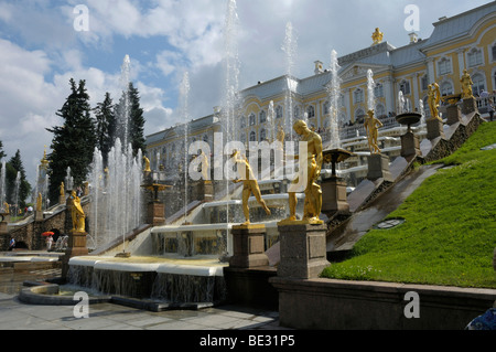 Grand Cascade with Palace, Peterhof, Petrodvorez, Saint Petersburg, Russia, Europe - Stock Photo
