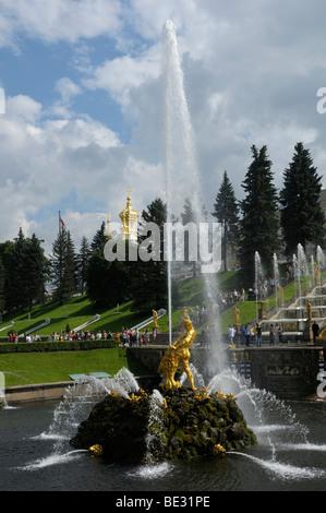 Grand Cascade with Castle Church, Peterhof, Petrodvorez, Saint Petersburg, Russia, Europe - Stock Photo