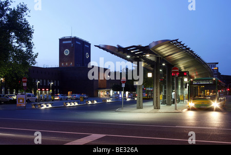 Bus station in front of the main railway station, Oberhausen, Ruhr area, North Rhine-Westphalia, Germany, Europe - Stock Photo
