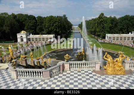 Grand Cascade, Peterhof, Petrodvorez, Saint Petersburg, Russia, Europe - Stock Photo