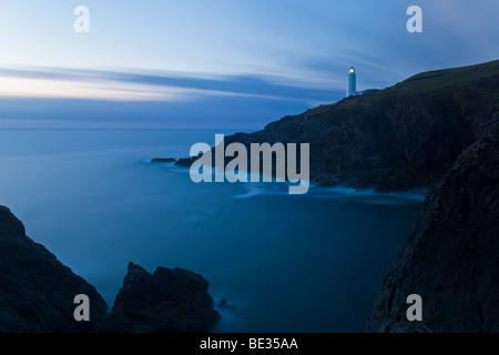 Trevose Lighthouse at Trevose Head near Padstow North Cornwall England UK - Stock Photo