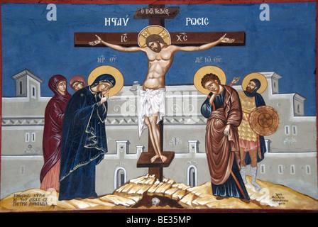 Greek Orthodox Christianity, painting, Jesus Christ on the cross, Moni Ipsilou monastery, Lesbos Island, Aegean - Stock Photo