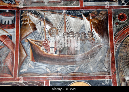 The interior of the byzantine church of agios nikolaos at for Ancient greek mural