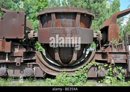 Rusty wagon for iron melt, Landschaftspark Duisburg-Nord landscape park, a former Thyssen blast furnace plant in Meiderich, Dui