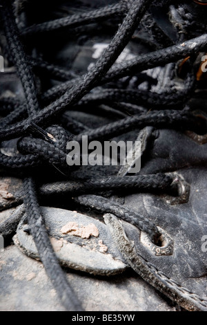 black boot laces - Stock Photo